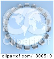 Clipart Of A 3d World Map Table Encircled With Meeting Room Chairs On Blue Royalty Free Illustration by Frank Boston
