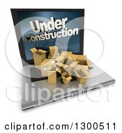 Clipart Of A 3d Laptop Computer With Shipping Boxes On The Keyboard And Under Construction Text On The Screen Over White Royalty Free Illustration
