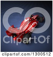 Clipart Of A 3d Red Race Car Over Dark Blue And Fading Checkers Royalty Free Illustration