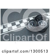 Clipart Of 3d Car Tires And Rims On A Race Track Royalty Free Illustration