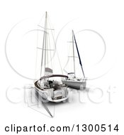 Clipart Of 3d Sailboats On Blue Prints Over White Royalty Free Illustration