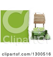 Clipart Of A 3d Pile Of Green Travel Luggage Under A Wooden Sign On White With Torn Paper Text Space Royalty Free Illustration