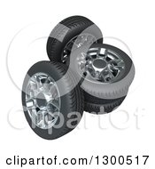 Clipart Of 3d Car Tires And Rims On White Royalty Free Illustration by Frank Boston