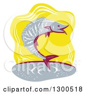 Clipart Of A Retro Woodcut Jumping Wahoo Fish Over Yellow Royalty Free Vector Illustration
