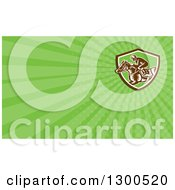 Clipart Of A Retro Woodcut Horse Racing Jockey And Green Rays Background Or Business Card Design Royalty Free Illustration