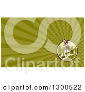 Clipart Of A Retro Woodcut Male Cross Country Runner Over Mountains And Green Rays Background Or Business Card Design Royalty Free Illustration