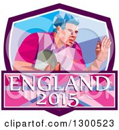Clipart Of A Retro Low Poly Geometric Rugby Player In A Purple White And Blue Shield With England 2015 Text Royalty Free Vector Illustration