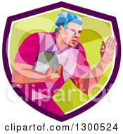 Clipart Of A Retro Low Poly Geometric Rugby Player In A Purple White And Green Shield Royalty Free Vector Illustration