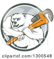 Clipart Of A Retro Cartoon Polar Bear Plumber Mascot Wielding A Monkey Wrench In A Circle Royalty Free Vector Illustration by patrimonio