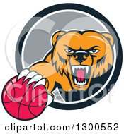 Clipart Of A Cartoon Roaring Angry Grizzly Bear With A Basketball Emerging From A Gray And White Circle Royalty Free Vector Illustration by patrimonio
