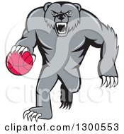 Clipart Of A Cartoon Roaring Angry Grizzly Bear Dribbling A Basketball Royalty Free Vector Illustration