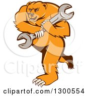 Clipart Of A Cartoon Roaring Angry Grizzly Bear Mechanic Mascot Carrying A Giant Wrench Royalty Free Vector Illustration