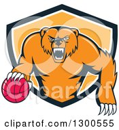 Clipart Of A Cartoon Roaring Angry Grizzly Bear With A Basketball Emerging From A Black White And Orange Shield Royalty Free Vector Illustration