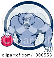Clipart Of A Cartoon Roaring Angry Blue Grizzly Bear With A Basketball Emerging From A Blue And White Circle Royalty Free Vector Illustration