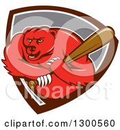 Clipart Of A Cartoon Roaring Angry Grizzly Bear Swinging A Baseball Bat In A Shield Royalty Free Vector Illustration