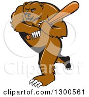 Clipart Of A Cartoon Roaring Angry Grizzly Bear Swinging A Baseball Bat Royalty Free Vector Illustration
