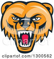 Clipart Of A Cartoon Roaring Angry Grizzly Bear Face Royalty Free Vector Illustration