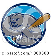 Clipart Of A Cartoon Roaring Angry Grizzly Bear Swinging A Baseball Bat In A Blue And White Circle Royalty Free Vector Illustration