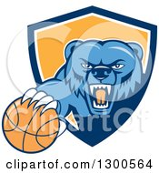 Clipart Of A Cartoon Roaring Angry Blue Grizzly Bear With A Basketball Emerging From A Blue White And Yellow Shield Royalty Free Vector Illustration