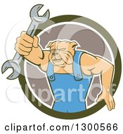 Clipart Of A Cartoon Bulldog Mechanic Holding Out A Wrench And Emerging From A Green White And Taupe Circle Royalty Free Vector Illustration by patrimonio