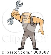 Clipart Of A Cartoon Bulldog Mechanic Holding Out A Wrench Royalty Free Vector Illustration