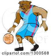 Clipart Of A Cartoon Bulldog Athlete Dribbling A Basketball Royalty Free Vector Illustration
