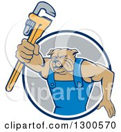 Clipart Of A Cartoon Bulldog Plumber Holding Out A Monkey Wrench And Emerging From A Blue White And Gray Circle Royalty Free Vector Illustration