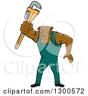 Clipart Of A Cartoon Bulldog Plumber Holding Out A Monkey Wrench Royalty Free Vector Illustration