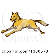 Clipart Of A Retro Running Wild Dog Or Wolf Royalty Free Vector Illustration by patrimonio