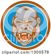 Clipart Of A Cartoon Angry Gorilla Face In A Brown White And Blue Circle Royalty Free Vector Illustration by patrimonio