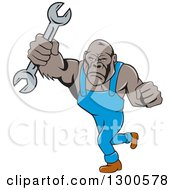 Clipart Of A Cartoon Tough Gorilla Mechanic Man Punching With A Wrench Royalty Free Vector Illustration by patrimonio