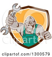 Cartoon Tough Gorilla Mechanic Man Punching With A Wrench And Emerging From A Brown White And Yellow Shield