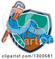 Clipart Of A Cartoon Tough Blue Gorilla Plumber Man Punching With A Monkey Wrench In A Tan Blue White And Turquoise Shield Royalty Free Vector Illustration by patrimonio