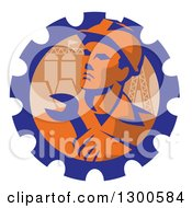 Clipart Of A Retro Male Engineer Worker Holding A Wrench Over Pylons In A Gear Cog Royalty Free Vector Illustration