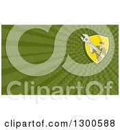 Clipart Of A Retro Cartoon Male Mechanic Holding A Wrench And Green Rays Background Or Business Card Design Royalty Free Illustration
