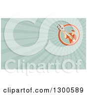 Clipart Of A Retro Cartoon Male Mechanic Holding A Wrench And Pastel Green Rays Background Or Business Card Design Royalty Free Illustration