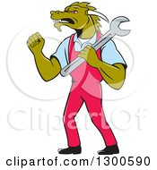 Clipart Of A Cartoon Dragon Man Mechanic Holding A Wrench And Doing A Fist Pump Royalty Free Vector Illustration