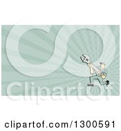 Clipart Of A Retro Cartoon Male Mechanic Kneeling And Holding A Wrench And Pastel Green Rays Background Or Business Card Design Royalty Free Illustration