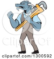 Clipart Of A Cartoon Dragon Man Plumber Holding A Monkey Wrench And Doing A Fist Pump Royalty Free Vector Illustration