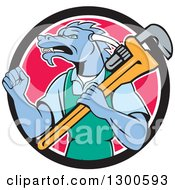 Clipart Of A Cartoon Dragon Man Plumber Holding A Monkey Wrench And Doing A Fist Pump In A Black White And Pink Circle Royalty Free Vector Illustration