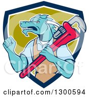 Clipart Of A Cartoon Dragon Man Plumber Holding A Monkey Wrench And Doing A Fist Pump In A Blue White And Green Shield Royalty Free Vector Illustration by patrimonio