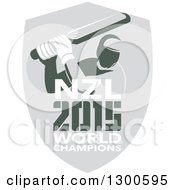 Clipart Of A Retro Cricket Player Batsman In A Gray Shield With NZL 2015 World Champions Text Royalty Free Vector Illustration