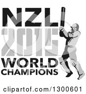 Clipart Of A Retro Cricket Player Batsman With NZL 2015 World Champions Text Royalty Free Vector Illustration