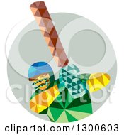 Clipart Of A Retro Low Poly Cricket Player Batsman In A Circle Royalty Free Vector Illustration