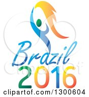 Blue And Green Athlete With Flames Over Brazil 2016 Text For Summer Games