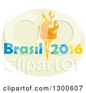 Torch With Brasil 2016 Text In A Green Oval