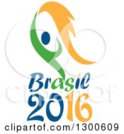 Green And Blue Abstract Athlete Holding Up A Torch Over Brasil 2016 Text
