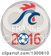 Clipart Of A Red And Blue Rooster Head Over France 2016 And A Soccer Ball In A Halftone Circle Royalty Free Vector Illustration by patrimonio