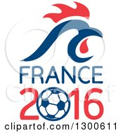 Clipart Of A Red And Blue Rooster Head Over France 2016 And A Soccer Ball Royalty Free Vector Illustration by patrimonio