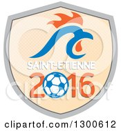 Clipart Of A French Rooster Head Over Saint Etienne 2016 And A Soccer Ball Shield Royalty Free Vector Illustration by patrimonio